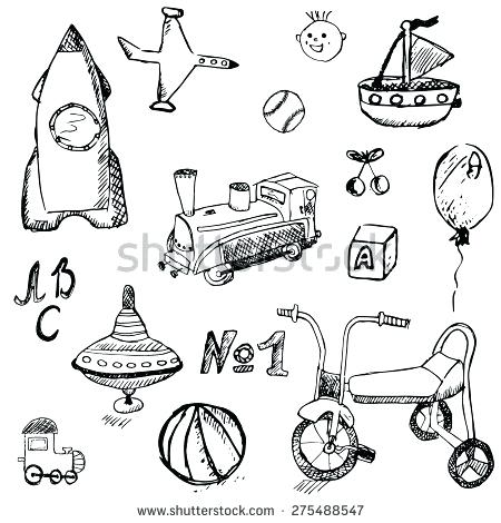 450x470 Coloring Toys For Kids Baby Child Toys Set Hand Drawn Sketch