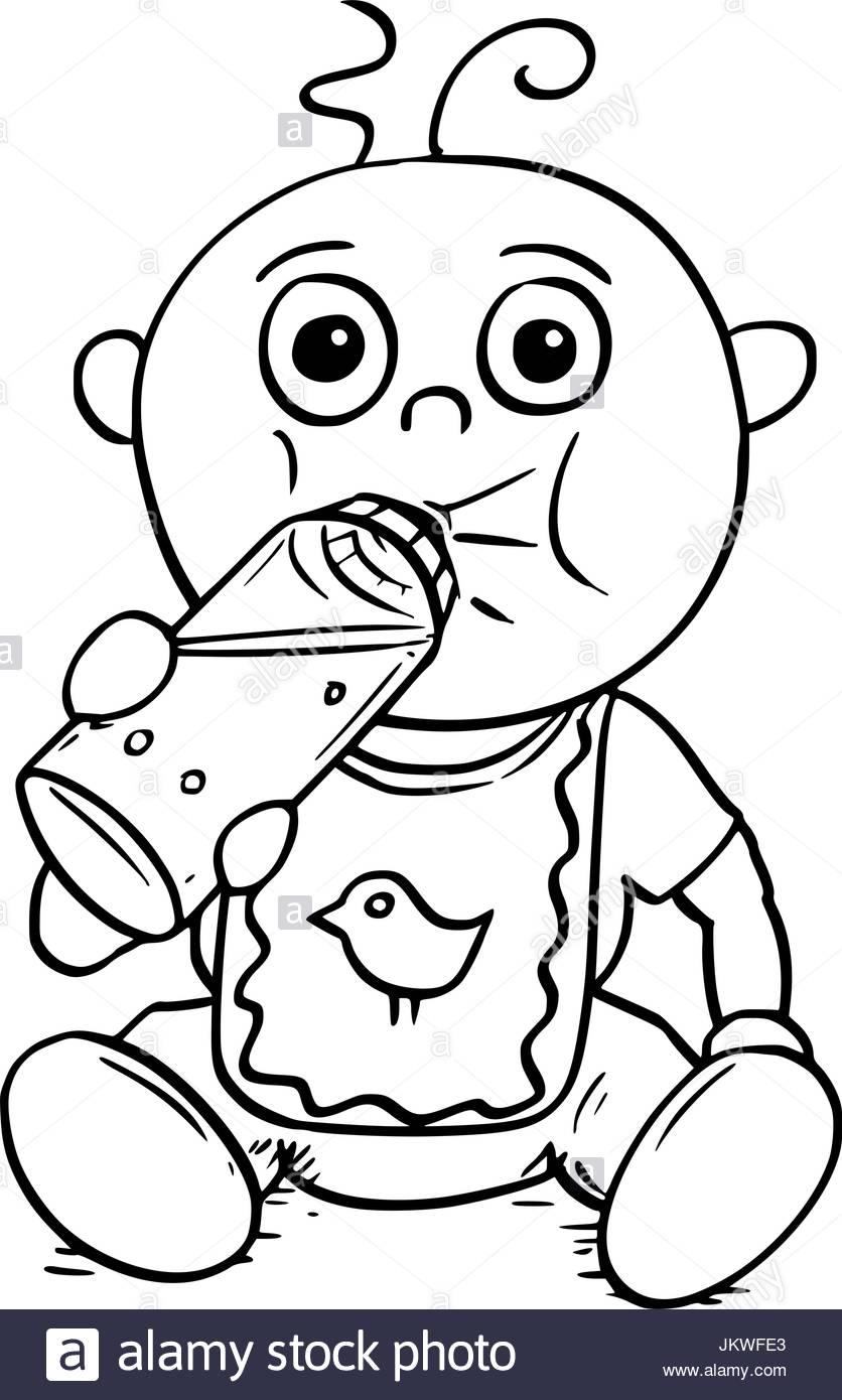 836x1390 Hand Drawing Cartoon Vector Illustration Of Baby Drinking