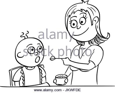 395x320 Hand Drawn Sketch Mother And Baby. Vector Illustration Stock