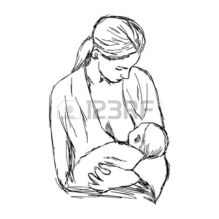 450x450 Illustration Doodle Hand Drawn Of Sketch Baby Feeds On Mom'S