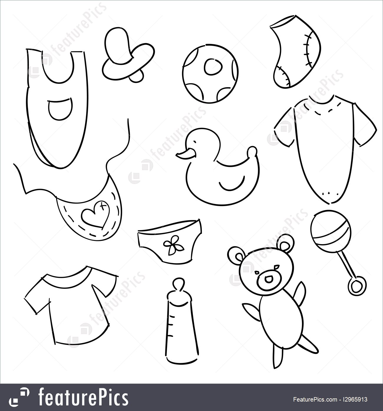 1300x1392 Illustration Of Hand Drawn Baby Icons