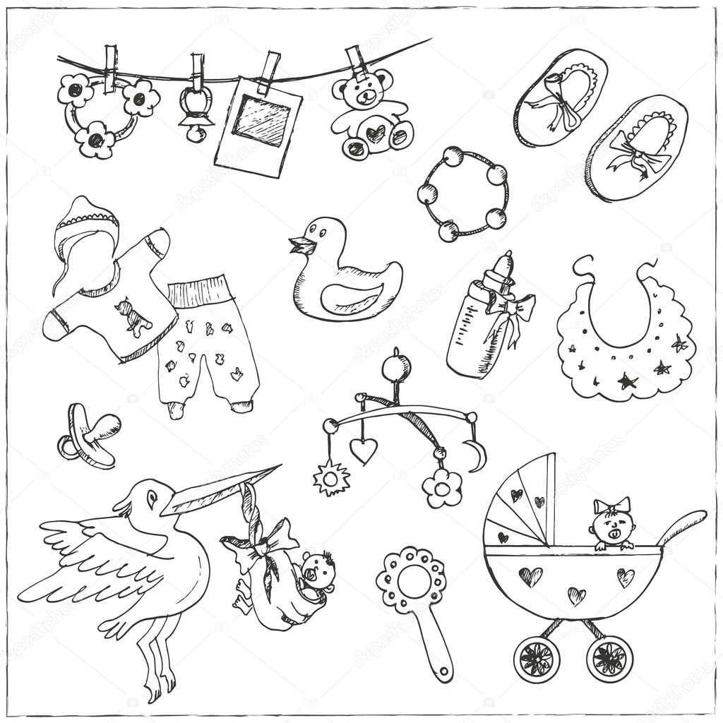 1024x1024 Set Of Baby Born Drawings. Sketches. Hand Drawing. Stock Vector