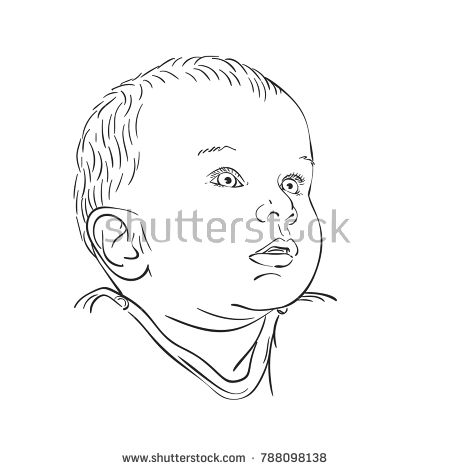 450x470 Sketch Of Baby Head Looking Up With Interest, Hand Drawn Vector