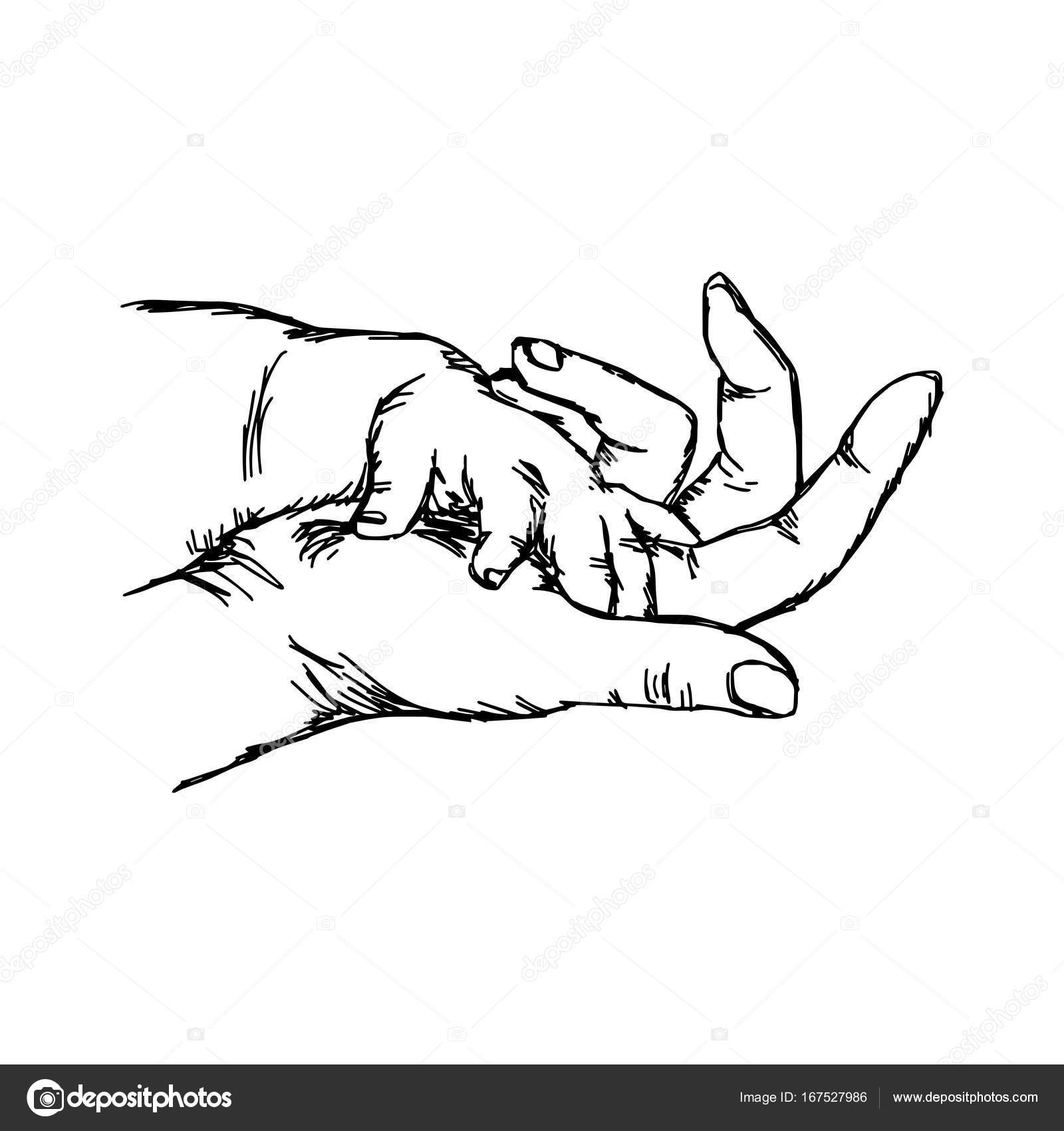 1600x1700 Hand Of Baby On Mother Vector Illustration Sketch Hand Drawn