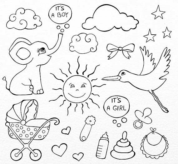 570x525 Baby Doodle Clipart, Hand Drawn Baby Clip Art, Baby Line Art, Png