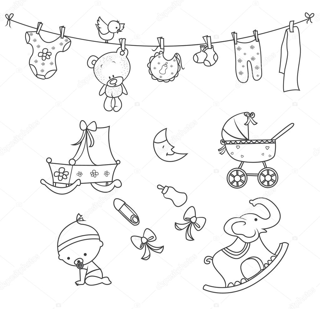 1023x990 Baby Doodle Object Hand Drawn Sketch Doodle Stock Vector