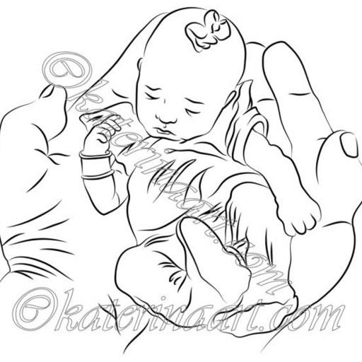 512x512 Digital Stamp Baby In Hands Printable Coloring Page Katerinaart