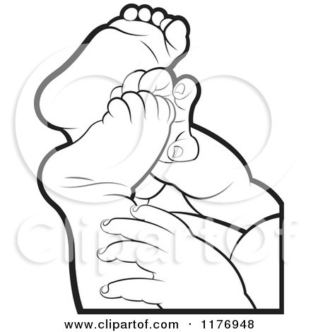 450x470 Clipart Of Black And White Baby Feet And Hands