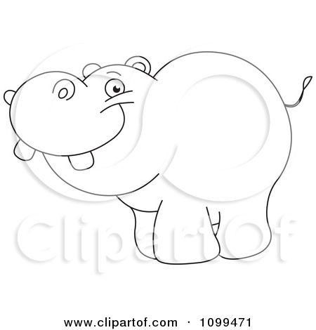 450x470 1099471 Clipart Happy Outlined Cute Baby Hippo Royalty Free Vector