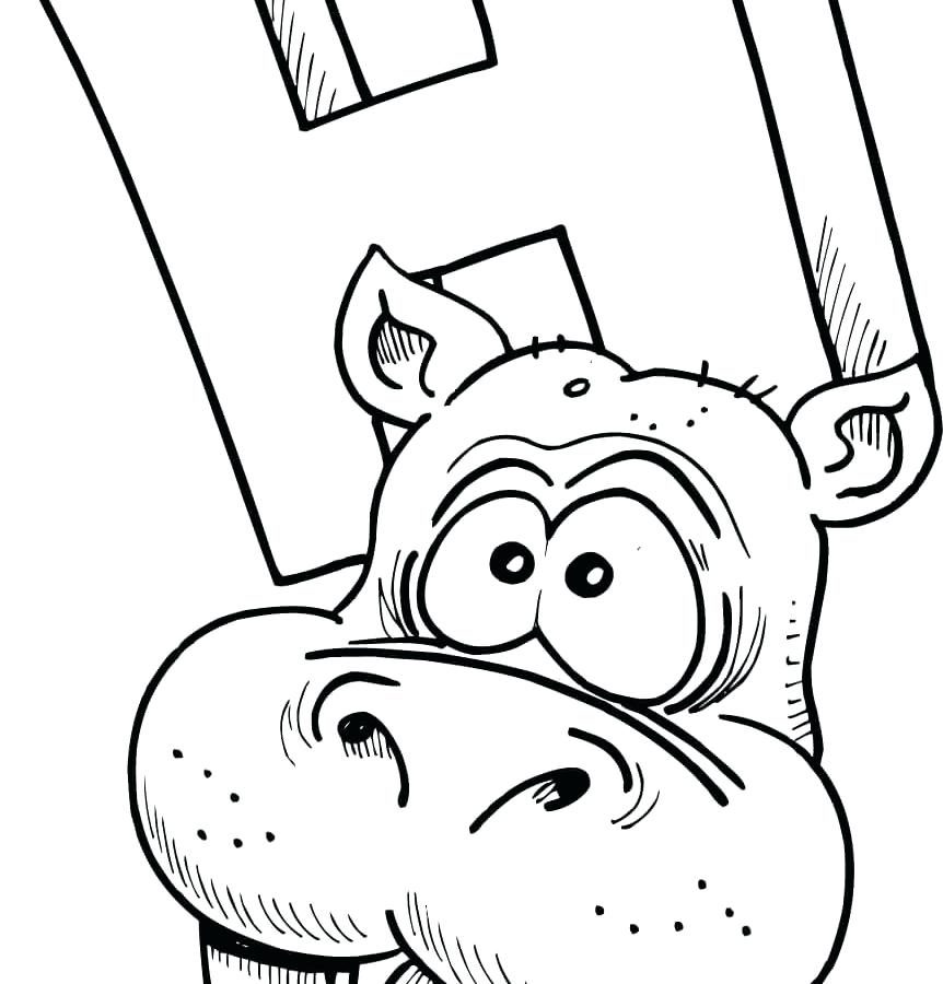 862x900 Sweet Pages Image Cartoon Hippopotamus Coloring Page For Kids
