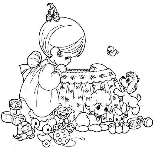 512x500 Mother Nursing A Baby In Crib Coloring Page Precious Moments