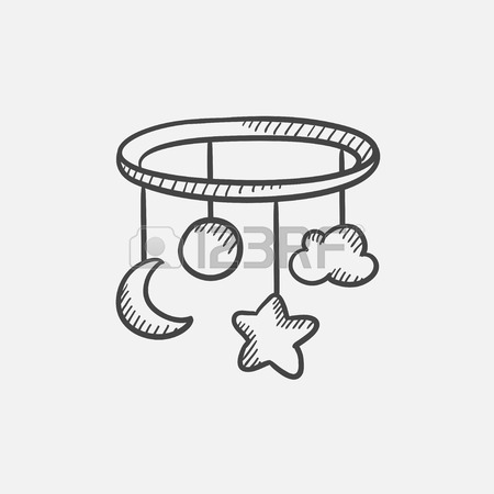 450x450 Baby Bed Carousel Sketch Icon For Web, Mobile And Infographics