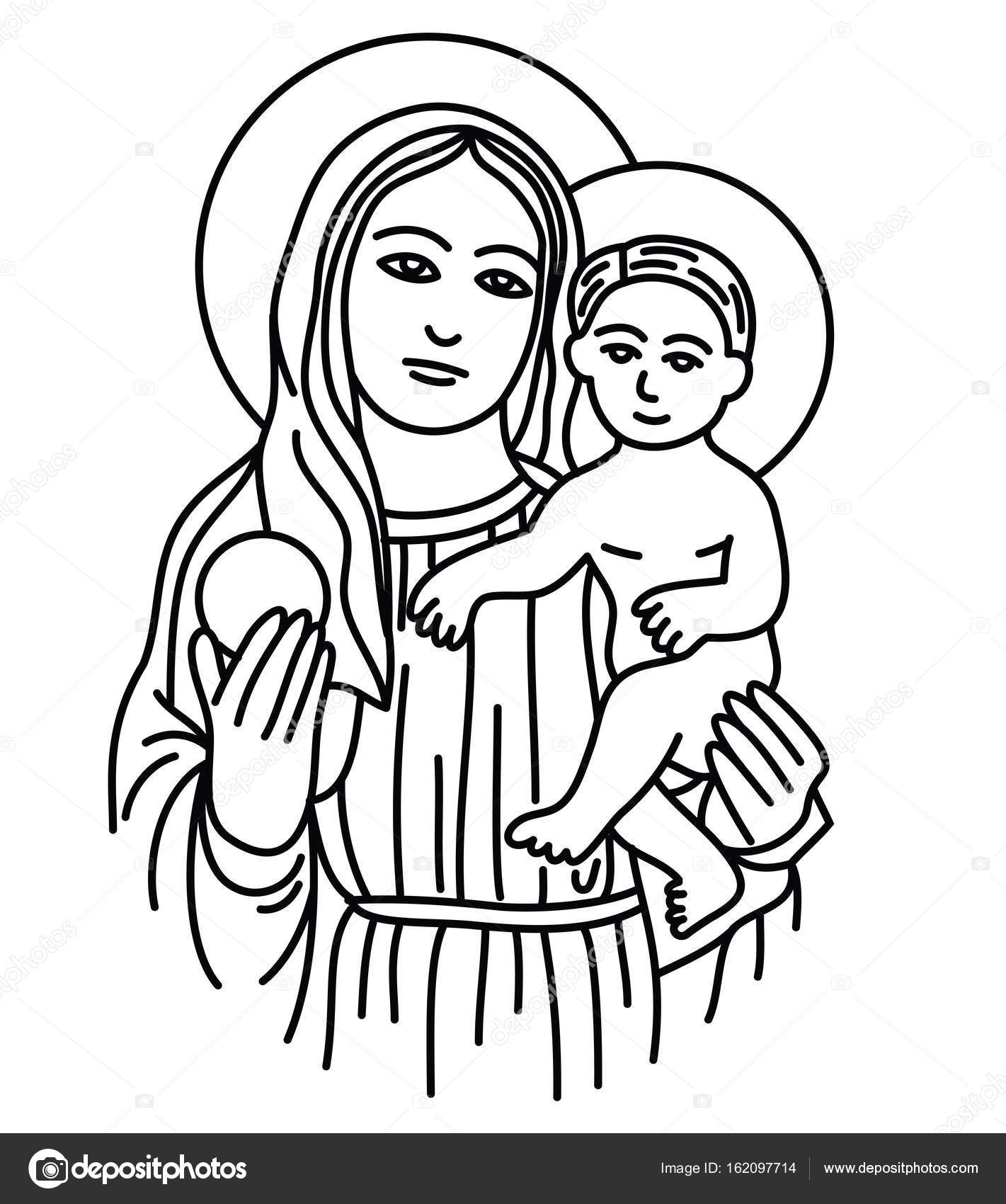 1421x1700 Blessed Virgin Mary With Baby Jesus Stock Vector