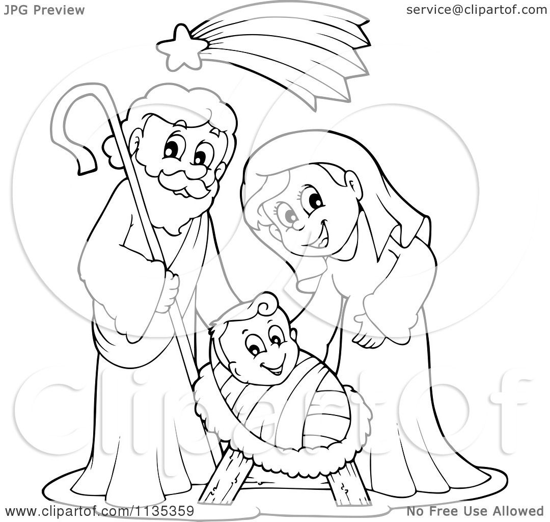 1080x1024 Cartoon Of An Outlined Joseph Virgin Mary And Baby Jesus Nativity