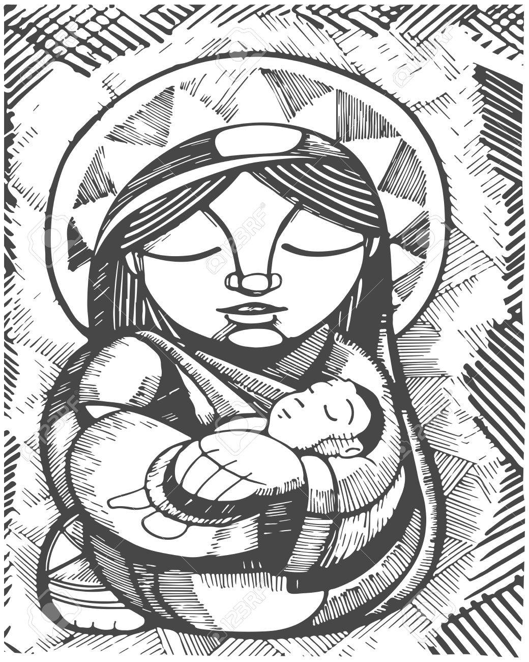 1040x1300 Hand Drawn Illustration Or Drawing Of Virgin Mary Mother