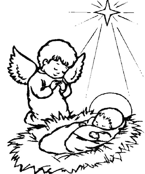 600x717 A Little Angel Praying For Baby Jesus Coloring Page