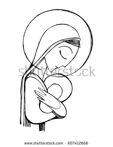 360x470 Hand Drawn Vector Illustration Or Drawing Of Virgin Mary And Baby