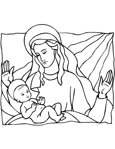 371x480 Mary And Baby Jesus Coloring Page Free Printable Coloring Pages