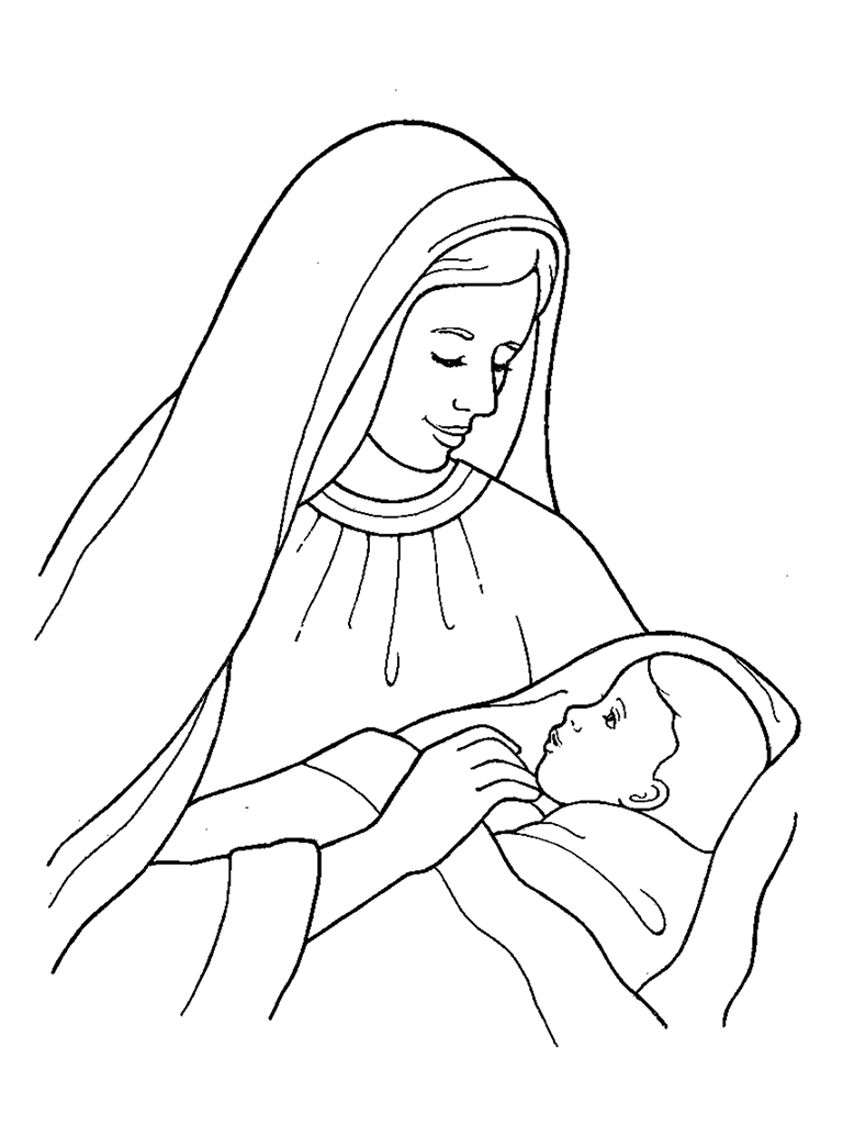 768x1024 Nativity Mary With Baby Jesus