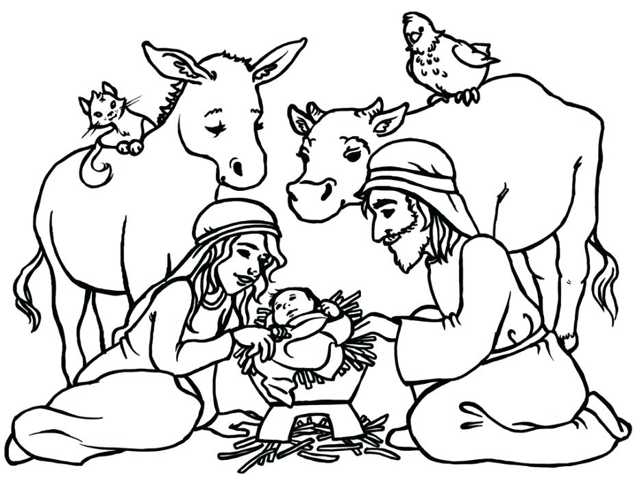 940x716 Baby Jesus In Manger Coloring Page Nativity And Star