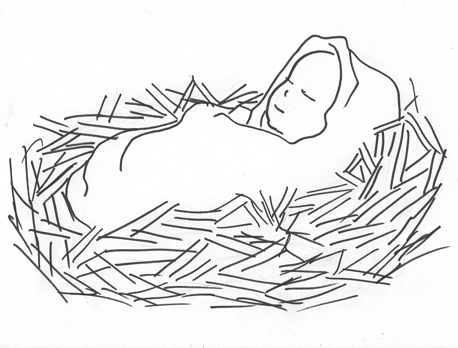 1600x1214 Drawing Of Baby Jesus Baby Jesus In A Manger Coloring Page Free