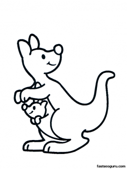254x338 Free Printable Animal Kangaroo With Baby Coloring Pages For Kids