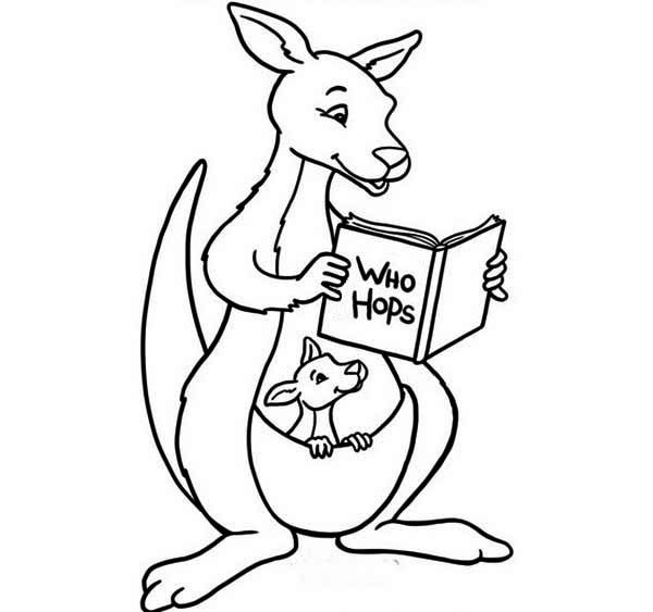 600x563 Baby Kangaroo Coloring Pages Mother Reading Her Son A
