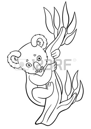 318x450 Coloring Pages. Mother Koala With Her Little Cute Baby On Her