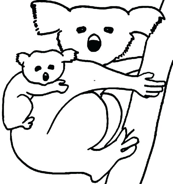 600x639 Koala Coloring Page Koala Bear Carrying Her Baby Coloring Page