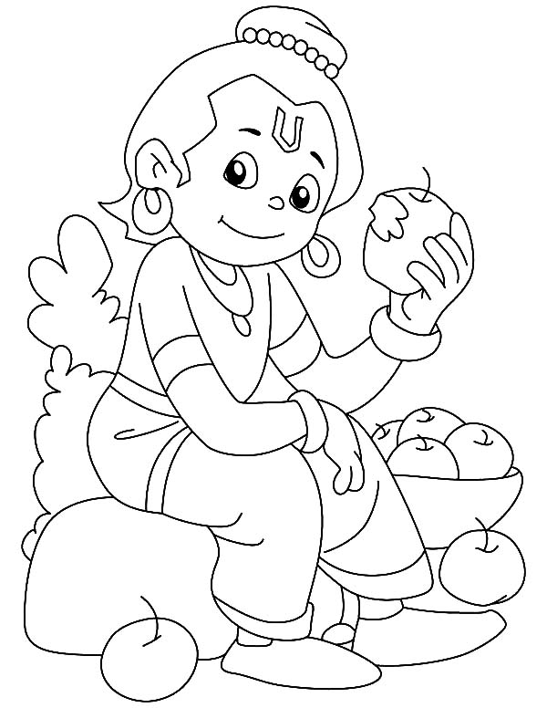 600x776 Krishna clipart coloring page