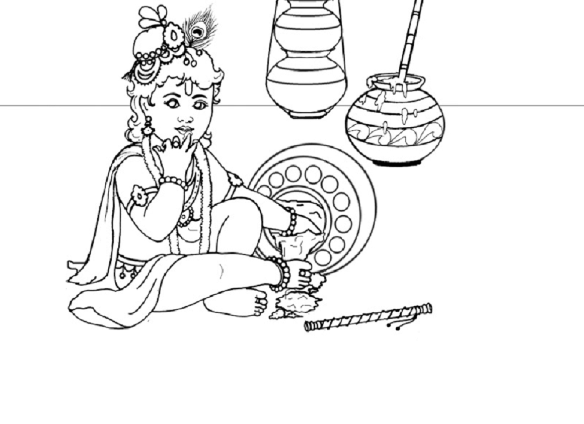 1160x843 Lord Baby Krishna Sketch Baby Krishna Drawing For Kids Printable
