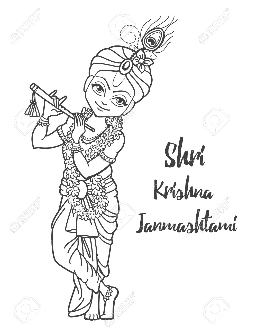 1000x1300 Ornament Card With Lord Shri Krishna Birthday. Illustration