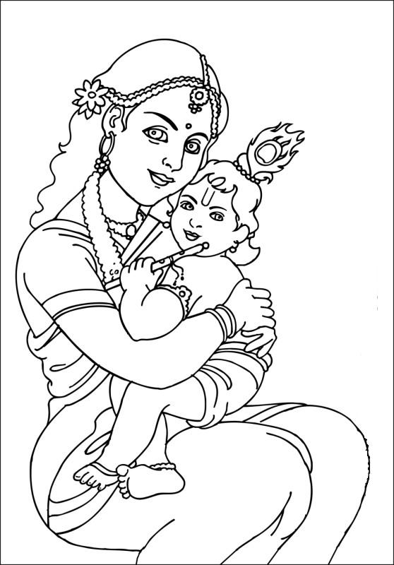 558x800 Baby Krishna Coloring Pages