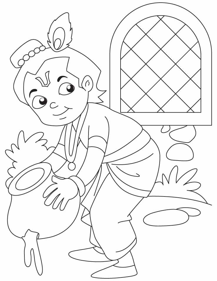 738x954 Baby Krishna The Butter Thief Coloring Pages Download Free Baby