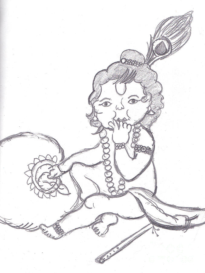 677x900 Bal Gopal Eatting Butter Drawing By Melissa Vijay Bharwani