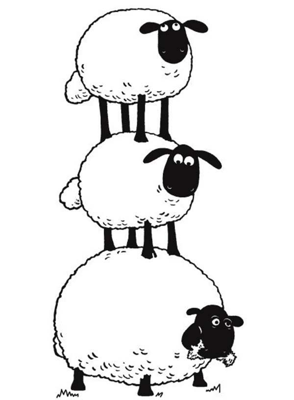 600x816 The Flock Make Sheep Stack In Shaun The Sheep Coloring Page