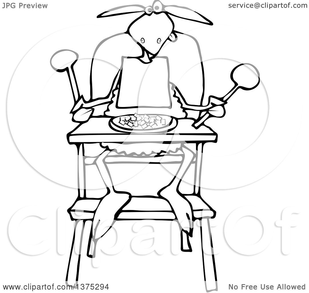 1080x1024 Cartoon Clipart Of A Black And White Baby Lamb Sitting In A High