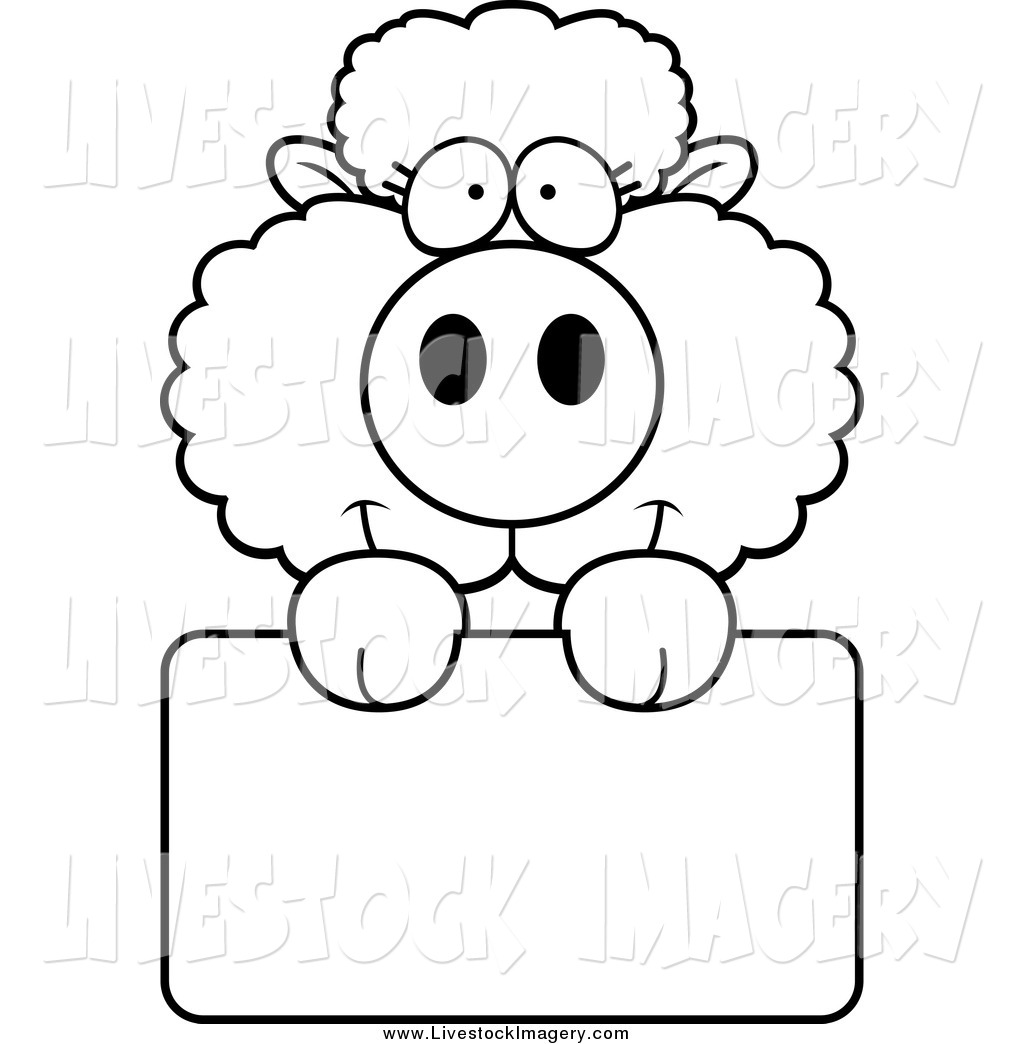 1024x1044 Clip Art Of A Black And White Baby Sheep Holding A Blank Sign By