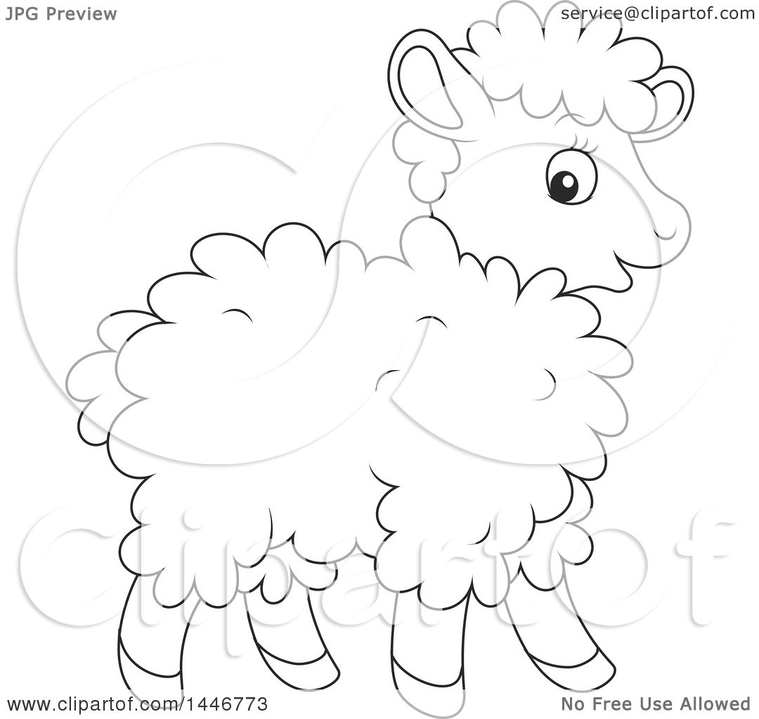 1080x1024 Clipart Of A Cartoon Black And White Lineart Cute Baby Lamb Sheep