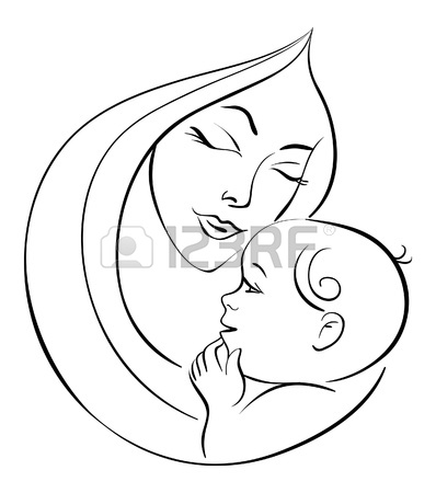 398x450 Mother And Baby Icon Woman Family Child Line Drawing Sketch