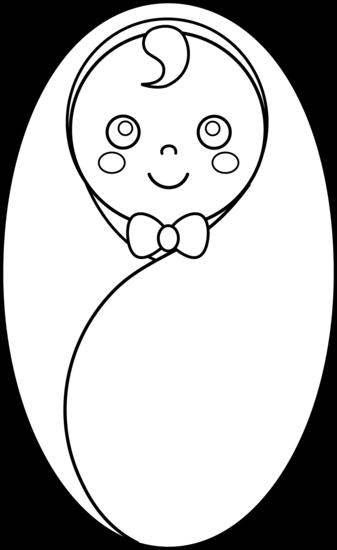 337x550 Swaddled Baby Line Art