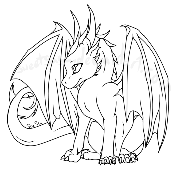 800x738 Baby Dragon Lineart By Sweetsasu