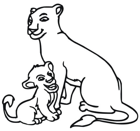 480x451 Baby Lion And Lioness Coloring Page Free Printable Coloring Pages