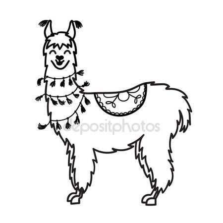450x450 Vector Illustration Of Cute Character South America Lama