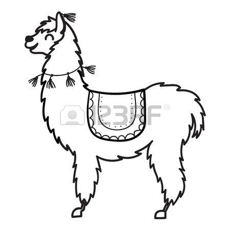 450x450 Cute And Simple Llamas Drawing, Adult And Baby Llama. Funny