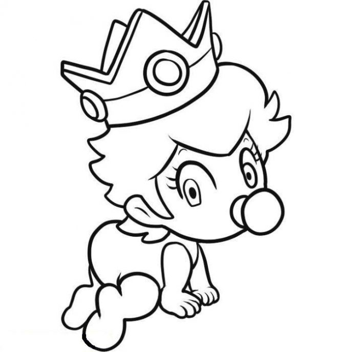 687x687 Coloring Pages Baby Mario Coloring Pages To Print Super Luigi