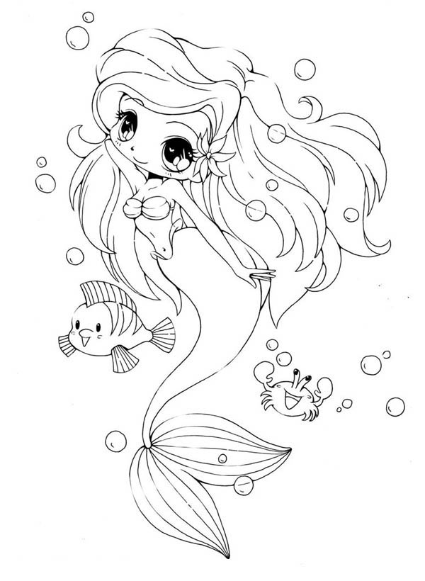 600x820 Chibi Little Mermaid And Her Friends Coloring Page