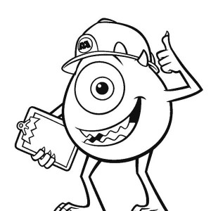 300x300 The One Eyed Monster Mike Wazowski From Monsters Inc Coloring