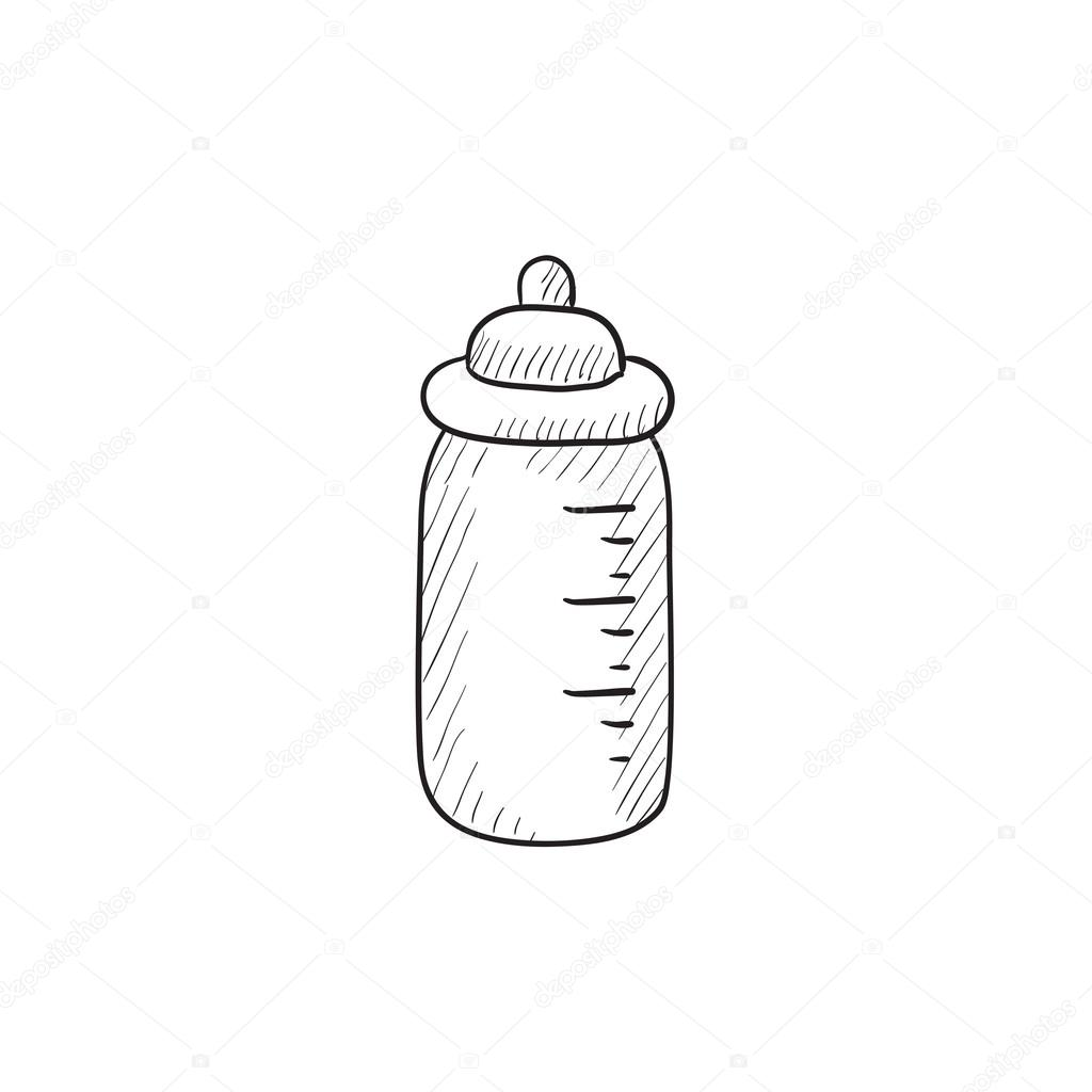 1024x1024 Feeding Bottle Sketch Icon. Stock Vector Rastudio