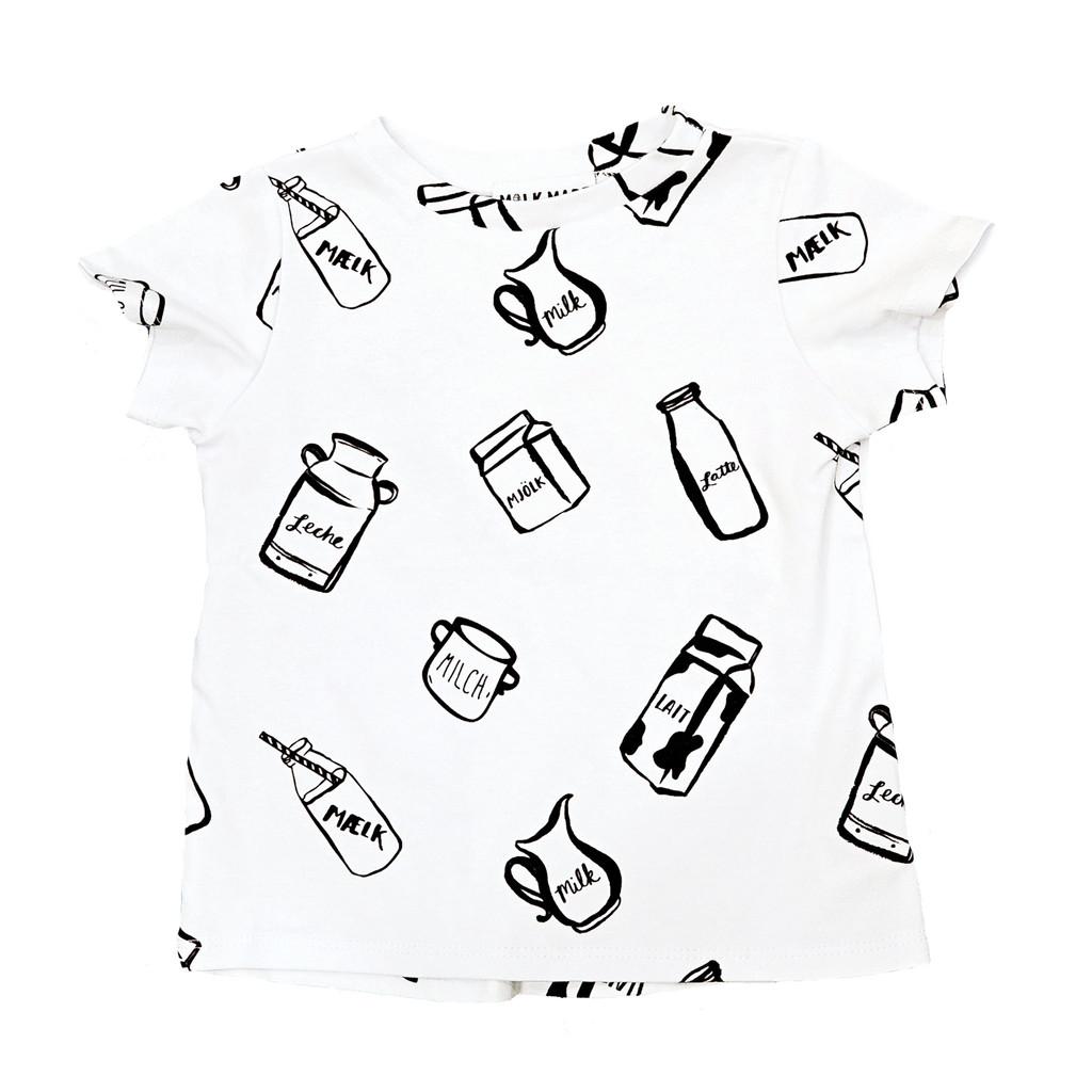 1024x1024 Milk Bottle Drop Back Tee (White) Organic Baby Kid's Children